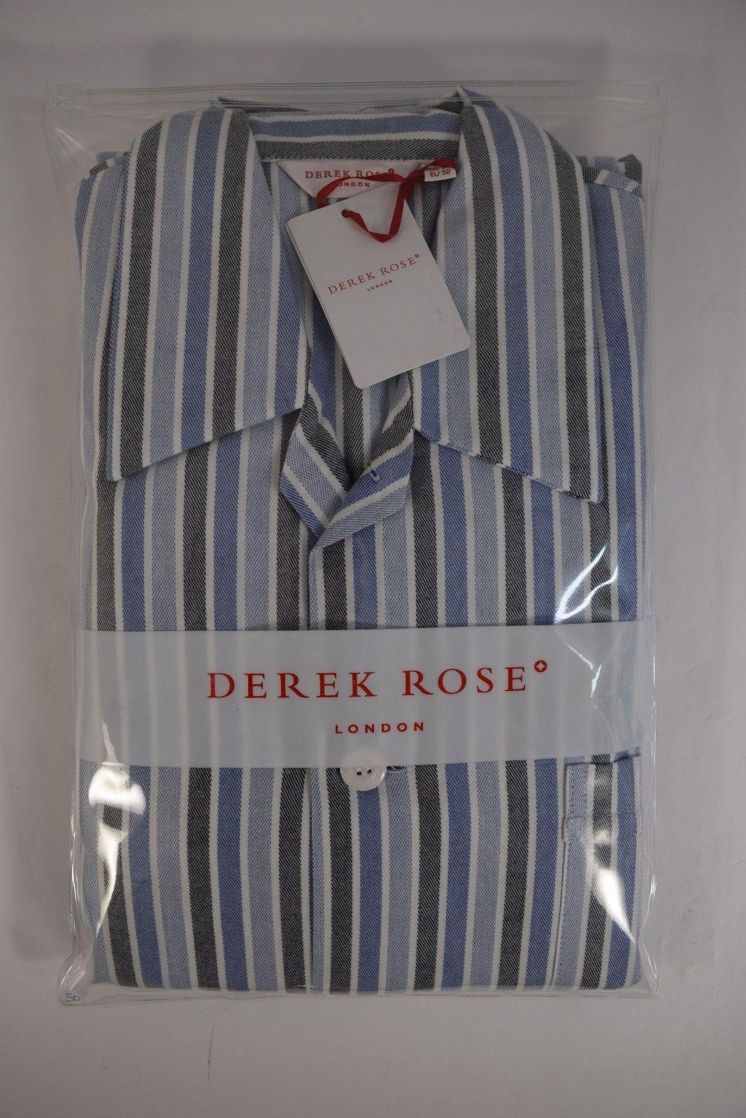 8ab5721620 DEREK ROSE pigiama uomo lungo APERTO FLANELLA cotone A/I righe tg ...