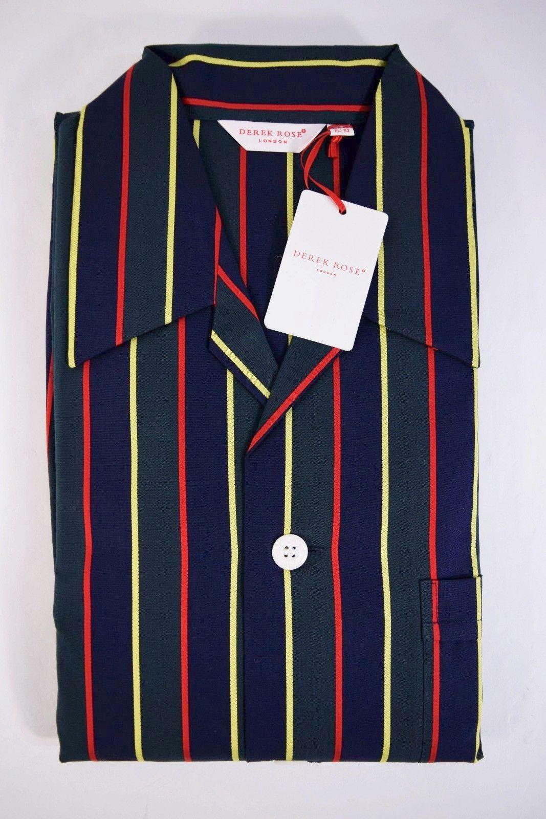 DEREK ROSE pigiama uomo lungo APERTO 100/% cotone raso POIS blu tg M-L-XL-XXL