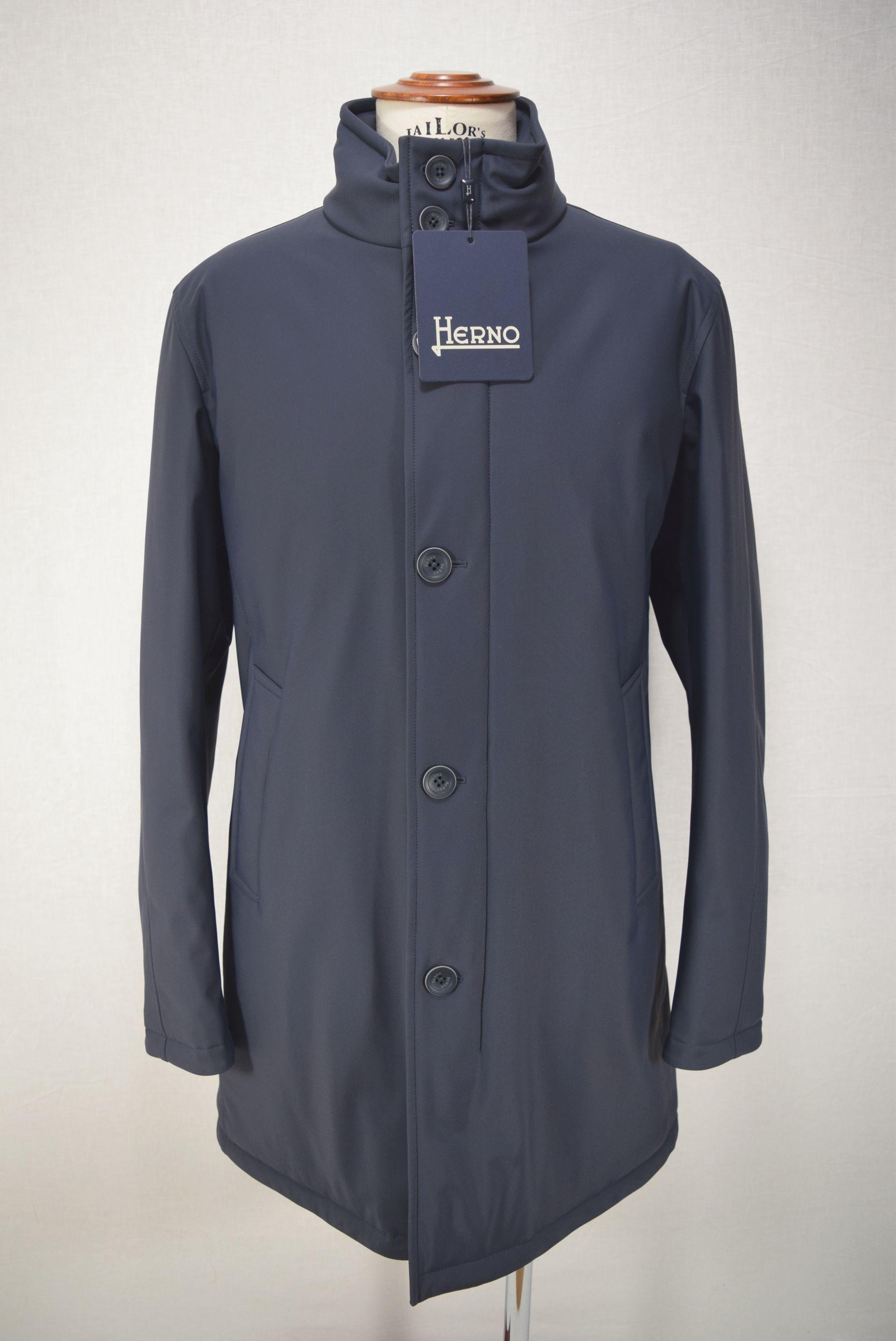 HERNO giaccone LUNGO cappotto uomo IMPERMEABILE imbottito blu A I ... 88c20400408